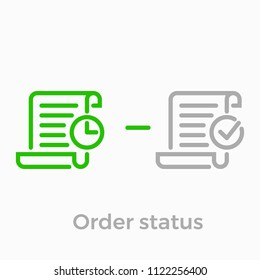 Order delivery and logistics line icon for online shop web design. Vector symbol of order received status or invoice bill with clock