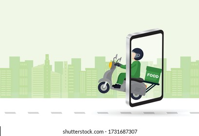 Order delivery online. Shipment tracking system mobile delivery man motorcycle fast shipping urban landscape.