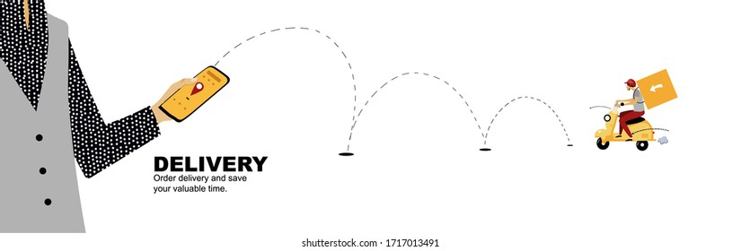 Order delivery from the phone. Vector illustration for website banner, print, advertising, restaurants.
