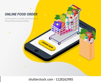 Order food, grocery online from app by smart phone. Fast delivery. Isometric vector of groceries, bucket, smart phone. Can be used for advertisement, infographic, game or mobile apps icon.