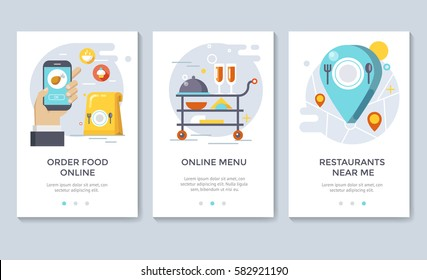 Order food on line banners, mobile application design, vector illustration