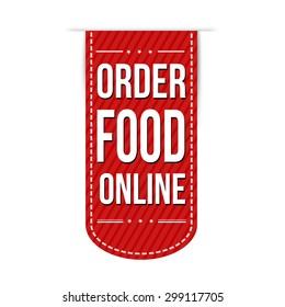Order food online banner design over a white background, vector illustration