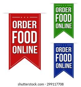 Order food online banner design set over a white background, vector illustration