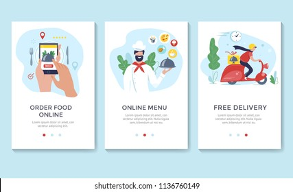 Order food online banner, mobile app templates, concept vector illustration flat design
