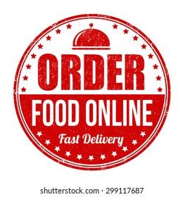 Order food online grunge rubber stamp on white background, vector illustration