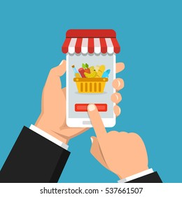 Order food online. Hand holding smartphone with food basket on the screen. Flat vector illustration.