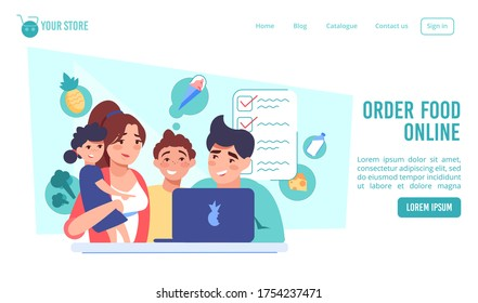 Order food online. Happy family choosing meal product at internet marketplace via computer laptop. Ice-cream, vegetable, milk, cheese grocery shopping, fast delivery service. Ecommerce. Lading page