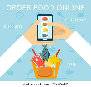 Order food online. Network and delivery, buy and retail, business concept, vector illustration