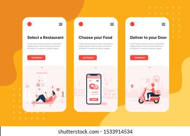 Order food online on boarding for mobile app templates, concept vector illustration flat design. Fast delivery, online ordering , restaurant concept.