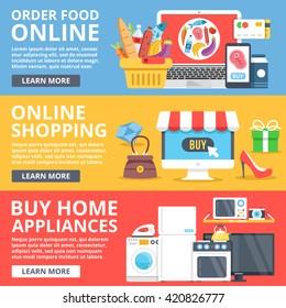 Order food online, online shopping, buy home appliances flat illustration set. Creative flat design elements for web sites, web banner, printed materials, infographics. Modern vector illustration