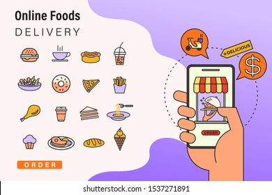 Order foods online from app by smart phone. Fast food delivery. Concept illustration with food icons, smart phone in hand with online restaurant.