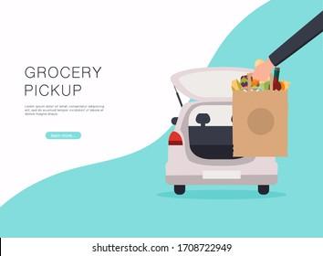 Order groceries online. Pick up point in food supermarket. Safe shopping.
