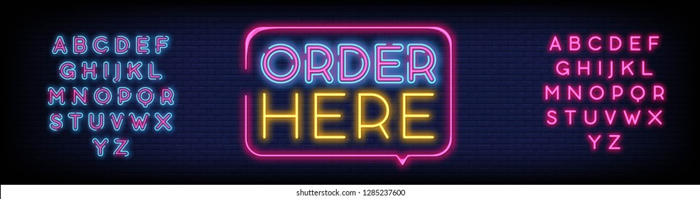 Order Here Neon Text Vector. Order Here neon sign  design template  modern trend design  night neon signboard  night bright advertising  light banner  light art. Vector. Editing Text Neon Sign
