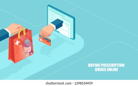 Order medicine over the internet. Vector of online pharmacy, e-commerce concept