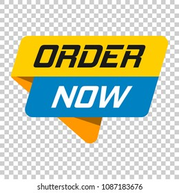 Order now banner badge icon. Vector illustration on isolated transparent background. Business concept order now pictogram.