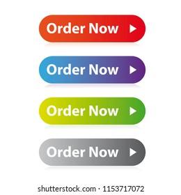 Order Now button set vector