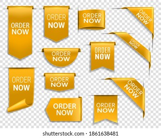 Order now gold banners, isolated 3d vector icons or labels. Bookmarks design elements. Realistic ribbons, corners, discount silk yellow promotional event shopping flags, golden tags business badges