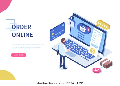 Order online concept with character. Can use for web banner, infographics, hero images. Flat isometric vector illustration isolated on white background.
