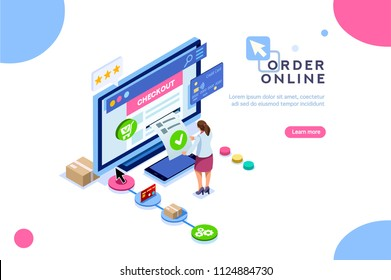 Order online concept with character. Customer order, online infographic. Isometric package sell, paying on screen purchase now discount. Flat Isometric characters illustration. Landing page for web.