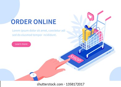Order online concept design. Can use for web banner, infographics, hero images. Flat isometric vector illustration isolated on white background.