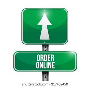 Order online green road sign concept illustration design graphic