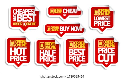 Order online price tags stickers set - cheapest and best, buy now, price cut and best price, etc.