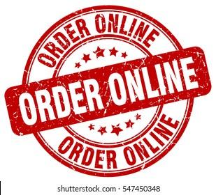 order online. stamp. red round grunge vintage order online sign