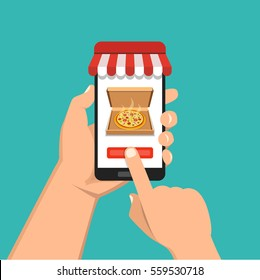 Order pizza online. Hand holding smartphone with pizza on the screen. Order fast food concept. Flat vector illustration.