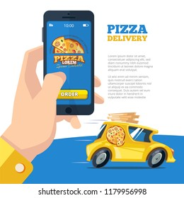 order pizza online. man holding smartphone and view pizzeria website online ordering restaurant yellow car fast delivery tasty food vector cartoon illustrations
