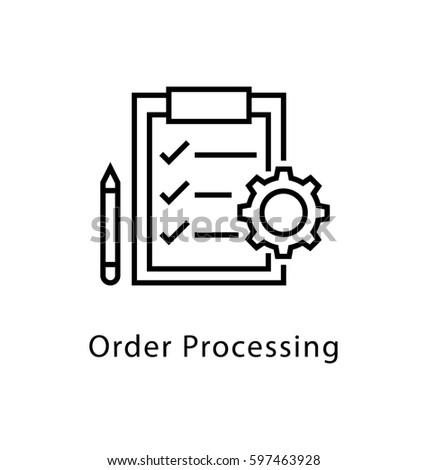order processing vector line icon のベクター画像素材 ロイヤリティ