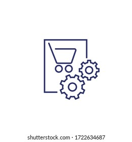 order, purchase processing icon, line vector