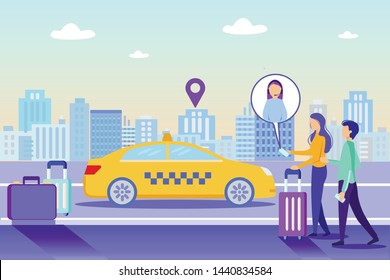 Order Taxi Online Service. People Tourist with Baggage, Girl Call Online Support, Order Cab Vector Illustration. Woman Operator Help. Mobile Phone App. Internet Application Car Fast Delivery