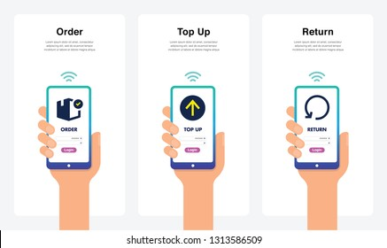 Order, Top Up, Return, New And Modern Trends. Can Use For Marketing And Promotion, Web, Mobile, Infographics, Editorial, Commercial Use And Others. Vector.
