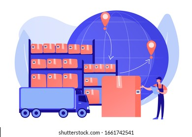 Order worldwide delivery service. Storehouse products storage. Transit warehouse, bonded warehouse, transferring process of goods concept. Pinkish coral bluevector isolated illustration