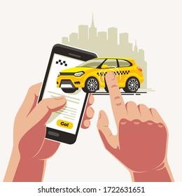 Bestellen Sie ein gelbes Taxi mit einer App auf einem Smartphone. Der Finger trägt das Taxi direkt zum Ziel.