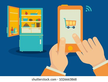 Ordering food with smartphone application to internet of things refrigerator vector illustration.