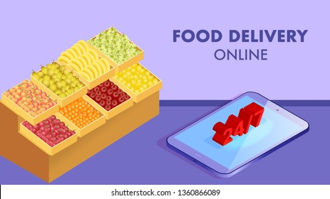 Ordering Fruits Online Isometric Banner Template. 24h Fresh Vegetables Delivery Service Typography. Realistic Citrus, Banana, Tomatoes Boxes. 3d Smartphone. Mobile Application Advertising Layout
