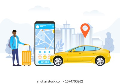 Ordering or hailing a ride by car online concept with a traveller standing with a suitcase alongside a mobile phone with app and map location pin over a yellow car, vector illustration