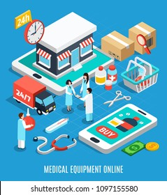 Ordering medical equipment online isometric concept on blue background 3d vector illustration
