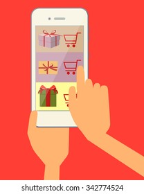 Ordering online gift through the web site using a mobile phone. Vector illustration