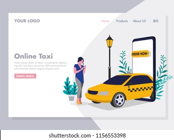 Ordering Online Taxi Illustration for landing page