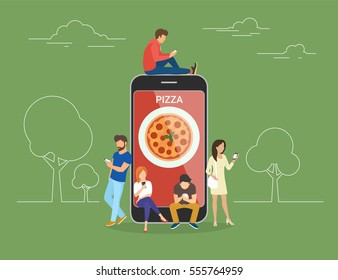 Ordering pizza online concept design. Flat illustration of young men and women standing near big smartphone and using their own smart phones for ordering junk food via mobile app and paying online.