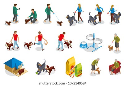 Ordinary life of dog and owner isometric icons with pet training, walking and feeding isolated vector illustration