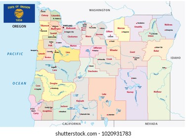 oregon administrative and political vector map with flag