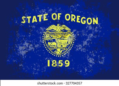 Oregon grunge, old, scratched style state flag