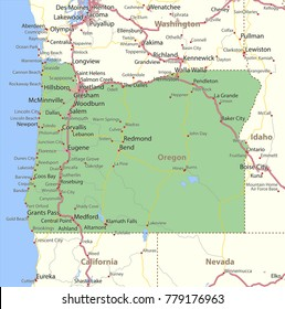 Oregon map. Shows state borders, urban areas, place names, roads and highways.Projection: Mercator.