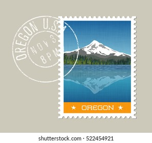 Oregon, postage stamp design.  Vector illustration of Mt. Hood behind lake with reflection. Grunge postmark on separate layer
