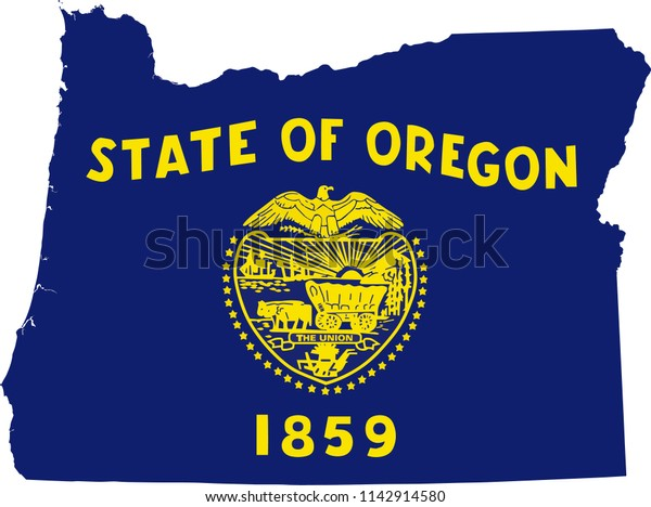Oregon State Flag Seal Love Heart Stock Vector (Royalty Free