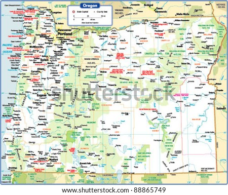Oregon State Map Stock Vector Royalty Free 88865749 Shutterstock