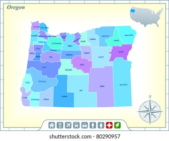 Oregon State Map with Community Assistance and Activates Icons Original Illustration